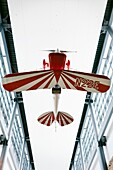 The Pitts Special S-1C Little Stinker,  hanging upside-down overhead in the entrance of the Steven F  Udvar-Hazy Center, Chantilly, Virginia
