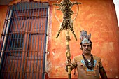 A Mayan ball player poses for a portrait in Chapab village in Yucatan state in Mexico´s Yucatan peninsula, Mexico, June 13, 2009