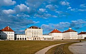 Nymphenburg palace in Spring time with newly planted flowers  Munich, Germany