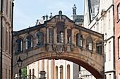 Hertford Bridge, popularly known as the Bridge of Sighs, New College Lane, Oxford, England, UK