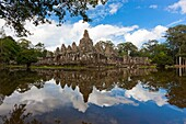 The Bayon (Khmer: Prasat Bayon) is a well-known and richly decorated Khmer temple at Angkor in Cambodia, Built in the late 12th century or early 13th century as the official state temple of the Mahayana Buddhist King Jayavarman VII, the Bayon stands at th
