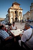 Portichuelo Square, with its beautiful chapel-Tribune Virgen del Socorro 1715, Antequera, Andalusia, Spain