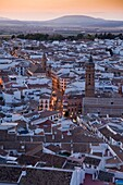 Sunset view of the city of Antequera, from the Tower of Homage of the Citadel, Antequera, Andalusia, Spain