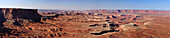 Panorama from Green River Overlook to Green River, Island in the Sky, Canyonlands National Park, Moab, Utah, Southwest, USA, America