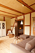 Living room, Klein Thurow, Roggendorf, Mecklenburg-Western Pomerania, Germany