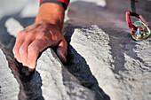 Climbers hand at water crack, bilt with carabiner, Multerkarwand, Treffauer, Wegscheidalm, Wilder Kaiser, Kaiser Mountain Range, Tyrol, Austria