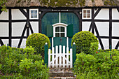 Half timbered house with thatched roof, Sieseby, Baltic Sea, Schleswig-Holstein, Germany, Europe