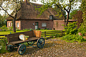 Wooden carriage with jar and plate in front of a house with thatched roof, Sieseby, Baltic Sea, Schleswig-Holstein, Germany, Europe