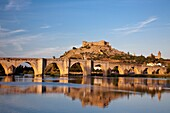 Spain-Spring 2011, Extremadura Region, Medellin City,(birth place of Hernan Cortes), Guadiana river,medieval bridge and castle