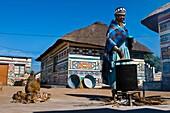Africa, South Africa, Mpumalanga Province, KwaNdebele, Ndebele tribe, Mabhoko village, the artist Francina Ndimande cooking