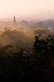 Myanmar (Burma), Mandalay State, from Mandalay Hill, view on Kuthodaw pagoda and Mandalay city