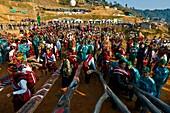 Myanmar (Burma), Sagaing State, Leshi, Naga Konyak tribe during the traditional ceremony of pillar raising