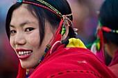 Myanmar (Burma), Sagaing State, Leshi, Naga women participating at the New year ceremony