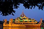 Myanmar (Burma), Yangon State, Yangon, Kandawgyi lake, Karaweik floating restaurant, copy of a royal barge looking like a garuda, the winged mount of Hindu God Vishnu