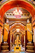 Myanmar (Burma), Sagaing State, Monywa, Thanboddhay Pagoda, built between 1939 and 1952 by Sayadaw Moehnyin (supreme teacher, superior of the monastery), it is said that this pagoda shelters 7350 relics and sacred objects plus  582 357 Buddha sculptures