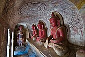 Myanmar (Burma), Sagaing State, Po Win Daung, these caves owe their name to the famous alchimist U Hpo Win who lived there, they shelter statues, wooden sculptures and Buddhist rock paintings dated between the 17th and 18th century