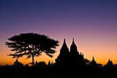 Myanmar (Burma), Mandalay State, Bagan (Pagan), Old Bagan, sun rises over the old capital of the Pagan Kingdom founded in 849 that shelters an extraordinary archeological site of hundred pagodas and brick stupas built between the 10th and 13th century