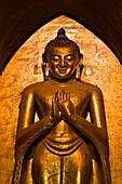Myanmar (Burma), Mandalay State, Bagan (Pagan), Old Bagan, Ananda Temple (Pahto Ananda, beginning 12th) that shelters 4 statues of 9,5 meters high representing Buddha who has reach the nirvana