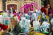 Myanmar (Burma), Mandalay State, Bagan (Pagan), Old Bagan, Ananda Temple (Pahto Ananda, beginning 12th), highlight of the Ananda festival, the donation ceremony : each pilgrim make donate food or money to the monks