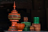 Myanmar (Burma), Mandalay State, Bagan (Pagan), Old Bagan, Ever Stand gloss paint workshop, offering bowls (in stupa shape) intended to monks or Buddha and betel nuts boxes