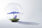 Embedded beach umbrella in a glass bubble
