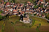 France, Haut-Rhin (68), Hunawihr, picturesque village of Alsace, labeled The Most Beautiful Villages of France, located on the Wine Route of Alsace, in the autumn landscape, (aerial view)