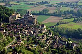 France, Dordogne (24), Castelnaud-la-Chapelle, a village labeled The Most Beautiful Villages, the strong castle of the twelfth twelfth century overlooking the Dordogne valley, (aerial view)