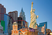 New York New York Hotel and Casino and resort hotel in Las Vegas, Nevada, USA. Replicas of international landmarks, The Statue of Liberty, Chrysler building and skyline. Signs., New York New York Hotel and Casino, Las Vegas, Nevada, USA