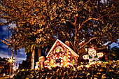 Big gingerbread house in front of a home. Dusk, darkness. A baked decorated house with small figures, lit up. Celebration and decorations in the garden of a house. Hedge and trees., Bradenton, FL, USA/Ginger breadhouse