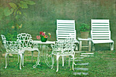 Chairs and table set in the garden. Sun loungers. Outdoor furniture., Taoyuan county, Taiwan, Asia.