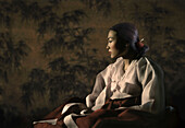 Young woman in a traditional Korean hanbok dress, Seoul, South Korea, Asia