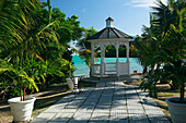 White pavilion on the waterfront, Gazebo at The Veranda Resort, Antigua, West Indies, Caribbean, Central America, America