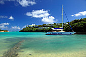 Boat in a bay at The Veranda Resort, Antigua, West Indies, Caribbean, Central America, America