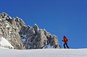 Woman backcountry skiing ascending towards a rock face, Kaiser express backcountry ski tour, Ellmauer Halt, Wilder Kaiser, Kaiser mountain range, Tyrol, Austria