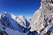 View to Treffauer, Sonneck and Ellmauer Halt, Kaiser express backcountry ski tour, Ellmauer Halt, Wilder Kaiser, Kaiser mountain range, Tyrol, Austria