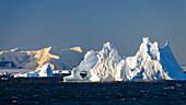 Iceberg at sunrise on antarctic circle, Adelaide Island, Antarctic Peninsula, Antarctica