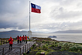 Chilean flag at Cape Horn, Cape Horn National Park, Cape Horn Island, Terra del Fuego, Patagonia, Chile, South America