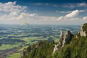 Paraglider near Kampenwand, Aschau, Chiemgau, Bavaria, Germany