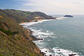 View at Pacific coast near Point Sur, Pacific Ocean, California, USA, America