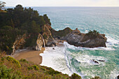 View of waterfall at the Pacific Coast, Julia Pfeiffer Burns State Park, California, USA, America