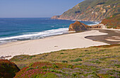 Sandy beach at Pacific coast between Bixby Bridge and Point Sur, Pacific Ocean, Highway 1, California, USA, America