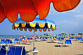 People on the beach, Rimini along the Adriatic coast, Emilia-Romagna, Italy