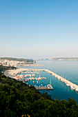 View of Pylos harbour and Sfaktiria island, Pylos, Ionian sea, Peloponnese, Greece, Europe