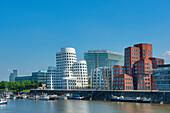 View at the Neuer Zollhof, Media harbour, Dusseldorf, Northrhine-Westphalia, Germany, Europe
