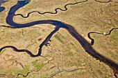 Aerial view of the uninhabited Trischen Island, Meldorf Bay, North Sea, Schleswig-Holstein, Germany