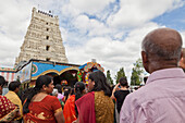 Sri Kamadchi Ampal Tempel in Hamm, Annual Hindu ceremony for Tamils in Europe in Hamm, largest Hindu temple in Europe, Canal represents the Ganges River, Dravida Temple, Kamadchi, Puja, Hamm, North-Rhine Westphalia, Germany
