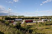 Wind turbines along the A2 Autobahn direction Berlin, Sachsen-Anhalt, Germany