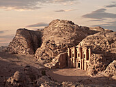 The monastery Ad Deir carved out of stone at sunset, Petra, UNESCO world heritage, Wadi Musa, Jordan, Middle East, Asia
