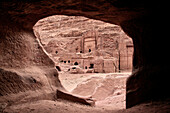 view out of cave tomb at Royal Tombs in Petra, UNESCO world heritage, Wadi Musa, Jordan, Middle East, Asia