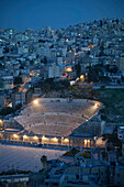 Roman Theatre in the center of the city at night, capital Amman, Jordan, Middle East, Asia